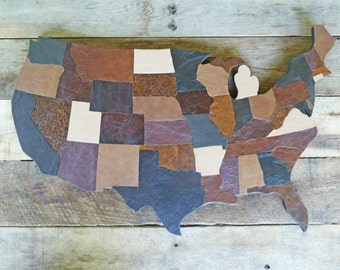 USA MAP america big size with states in leather, earth tones, burlap on back, support in wood, wall decor, country western style