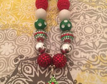 Christmas Tree Bubblegum Bead Necklace