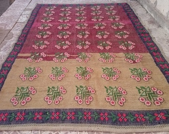Turkish Vintage Oushak Cicim  Kilim   rug 111x67