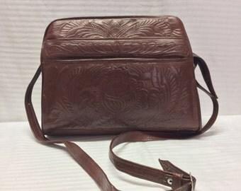Tooled Leather purse,Bag,Brown leather, Shoulder Bag