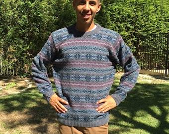 Scottish wool sweater, men's large, men's, blue sweater, Harley