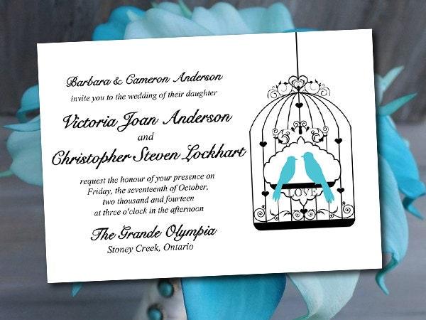 Love Birds Wedding Invitations: Love Bird Wedding Invitation Template Turquoise Black