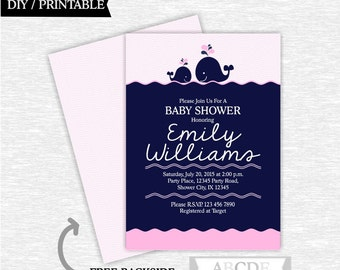 Whale Girl Baby Shower invitation Nautical baby shower invitation DIY Printable (WHA002)