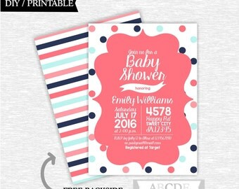 Coral, Navy, Blue Baby shower invitation Polka Dots, Stripes,  DIY Printable (PDEE005)