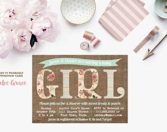 baby shower invitation, baby girl invite, burlap shower invite, shabby style patterns, mint invite, pastels, PRINTABLE, digital invite