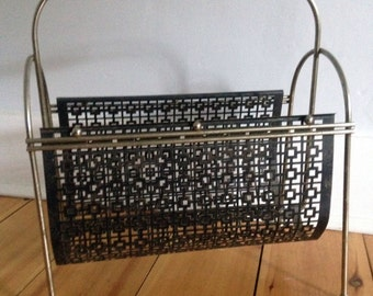 mid century magazine rack, metal, geometric