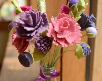 PDF tutorial: DIY felt flowers - purple & pink peony bouquet (no sew!)