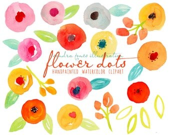 Watercolor Clipart - Watercolor Flower Dots - Abstract Modern Watercolor Florals