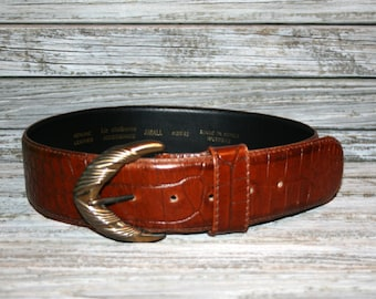 Vintage 80s 1980s Liz Claiborne Brown Leather Belt Womens Belts Size Small Gold Buckle Alligator Embossed Vintage Belts Vintage Accessories