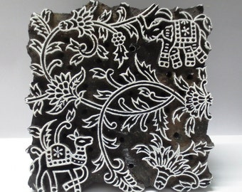 Indian wooden hand carved textile printing fabric block / stamp fine detailed carving floral and fauna jungle print