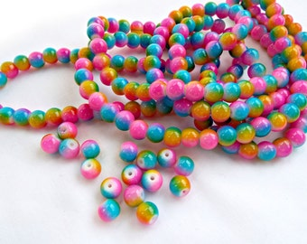 100 Rainbow Beads, 8mm Glass Beads, Round Beads, Bright Color Beads, Glass Rounds, Mixed Color, Jewelry Beads, UK Seller, Jewelry Supplies
