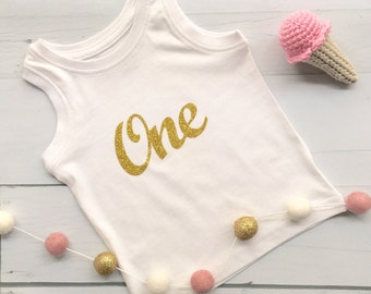 ONE Gold Glitter DIY Iron On Decal, Heat Transfer vinyl, Cake Smash 1st Birthday outfit