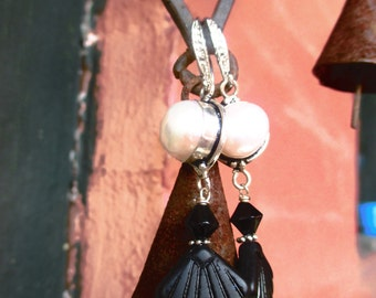 Art Deco Glass Handmade Earrings With Freshwater Pearl Accent
