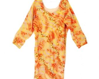SALE SALE Vintage Swimsuit Beach Tunic Coverup Grey Orange Floral Embroidered Over Bathsuit Swimsuit Summer Beach Tunic Dress Size Medium La