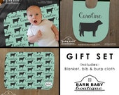 Personalized Show Steer Baby Gift Set - blanket, burp cloth and bib - farm nursery, livestock baby shower gift