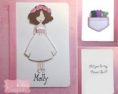 Flower Girl Proposal - Personalized Flower Girl Paper Doll Cards, Flower Girl Gift Bridal Party, Rustic Wedding, Card Kraft