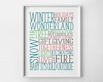 Holiday Decor, Winter Subway Art, Christmas Print, Holiday Print, Christmas Decor, Holiday Poster, Christmas Art, Winter Decor, 0422