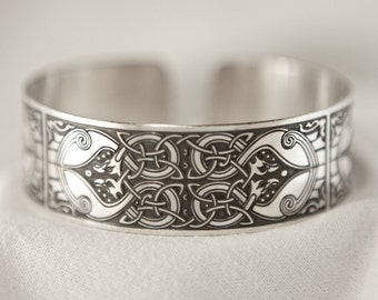Celtic Art Cuff Etched in Sterling Silver from The Macregol Gospels, Handmade in Scotland.
