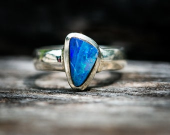 Boulder Opal Ring Size 8 - Natural Opal Ring - Opal & Sterling Silver Ring - Ring size 8 - October Birthstone Ring - Boulder Opal -Opal Ring