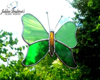 Green Butterfly Suncatcher Stained Glass Butterfly Sun Catcher Butterfly Decor Window Decoration Green Stained Glass Art Butterfly Art