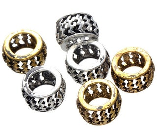 10 PC golden silver mixed color dreadlock metal beads braid cuff 8mm Hole D10