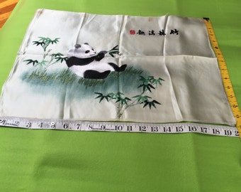 """Signed Antique Chinese silk embroidery Bamboo eating Panda 20""""x14"""" embroidered vintage"""