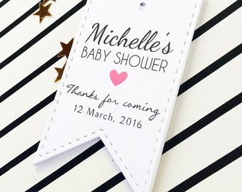 Baby Shower Favor Thank Yous, Party Favor Tags, Baby Shower Tags, Baby Name Tags, Baby Girl Tags, 24 pcs