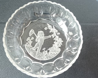 Vintage French Intaglio Glass Candy Bowl of Child Catching Butterflies 1930's