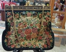 Vintage 1950's Petit Point Tapestry Purse w/Mirror