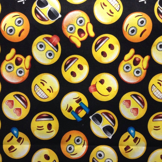 One half yard of fabric material classic emoji faces on for Emoji fabric