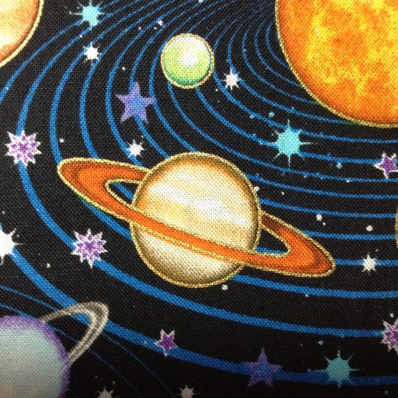 One half yard of fabric material outer space toss for Outer space fabric by the yard