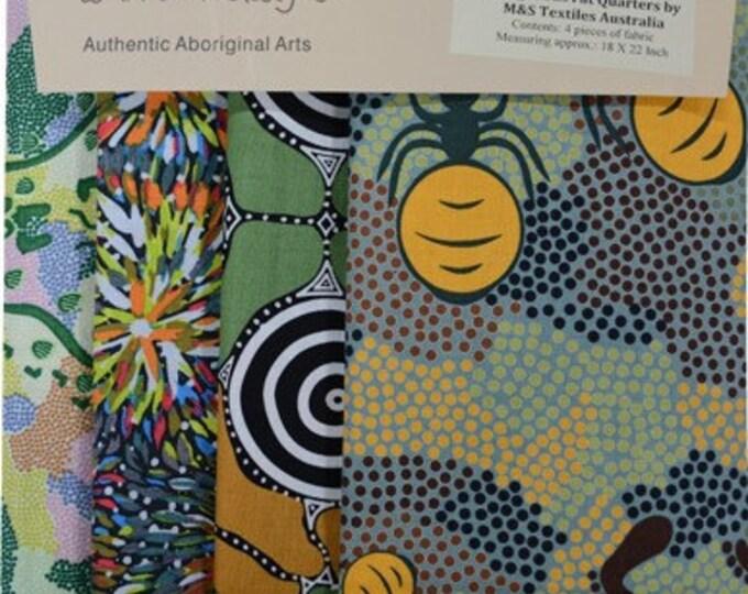 4 Fabric FAT QUARTER Pack Green - 4 Different Fabrics Australian Aboriginal Fabric Quilt Shop Material by M & S Textiles Australia