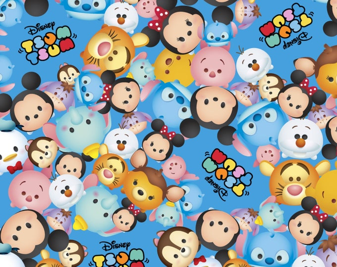 Disney Tsum Tsum Packed with Logo Blue - Cotton Woven - Springs Creative