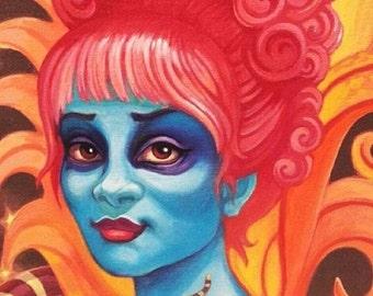 Miss Argentina print by Angel Hawari, Beetlejuice, monster girl, afterlife kids, Tim Burton