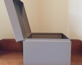 Metal File Box Office Industrial  Desk Storage Box Taupe-Brown Square Container