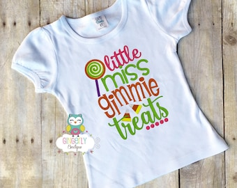 Little Miss Gimmie Treats Shirt or Bodysuit, Girl Trick or Treat Shirt, Girl Halloween Shirt, Halloween Clothing, Girl Halloween, Halloween
