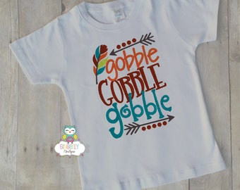 Gobble Gobble Gobble Thanksgiving Shirt, Boy Thanksgiving, Boy Turkey Shirt, Thanksgiving Shirt, Boy First Thanksgiving