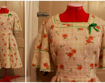60s/70s Polyester Cowgirl Dress Size L