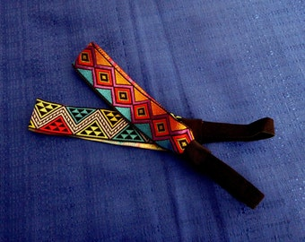 2 Geometric Headbands Headwraps Muli-colored Atzec Headbands