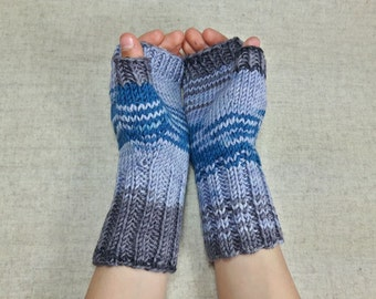 Handknitted Fingerless Gloves for kids and teens, gray, teal, wool merino, arm warmers