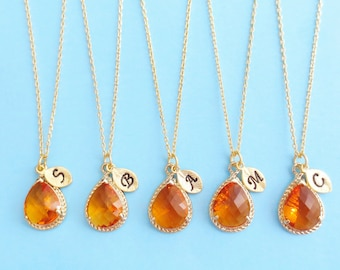 Set of 1-10, Personalized, Letter, Initial, Orange, Stone, Gold, Silver, Necklace, Sets, Wedding, Bridesmaid, Bridal, Gift, Jewelry