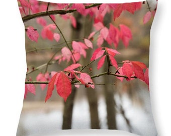 Fall Color Throw Pillow. Colorful Outdoor Seat Cushion. Red Leaves Pillow. Photo Art Home Decor. Nature Pillow Cover. Nature Outdoor Art