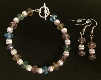 Pastel and Silver bracelet & earring set