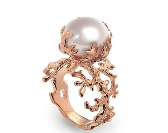 SALE 20% Off - CORAL PEARL Rose Gold Ring, Rose Gold Pearl Ring, Statement Ring, Large Pearl Ring, Unique Pearl Ring, Pearl Engagement Ring