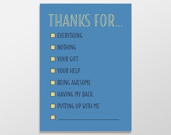 Funny Thank You Card, Multiple Choice Card, Funny Greeting Card, Thanks for Nothing, Thanks for Everything, Multiple Choice Thank You