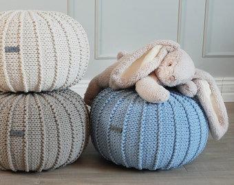 Baby Blue Knitted Cotton Floor Pouffe Pouf Ottoman