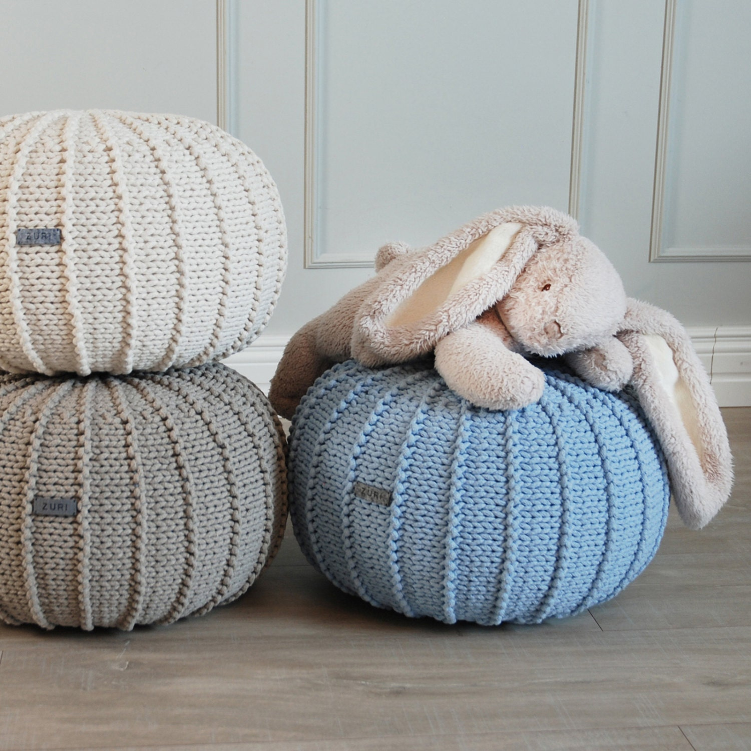 Good Baby Blue Knitted Cotton Floor Pouffe, Blue Pouf, Ottoman, Knitted Pouf,  Pouffe