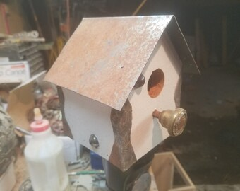 Glass n rust birdhouse