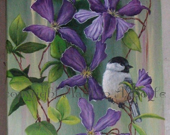 ORIGINAL ACRYLIC PAINTING; Clematis and chickadee, 12 x 34 imches, Canadian art, wall art, flowers, garden, songbird,