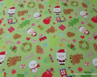 Christmas Flannel Fabric - Santamain Green - 1 yard - 100% Cotton Flannel